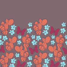 Cactus With Flowers Butterflies Sketch, Contour Blue Coral Orange Dark Red Maroon On Brown Background. Simple Ornament, Can Be Used For Greeting Card Banner Template Design. Vector