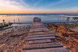 old wooden pier at the fishing harbor. Horizontal view