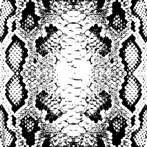 Snake skin scales texture. Seamless pattern black isolated on white background. simple ornament, Can be used for Gift wrap, fabrics, wallpapers. Vector Wall mural