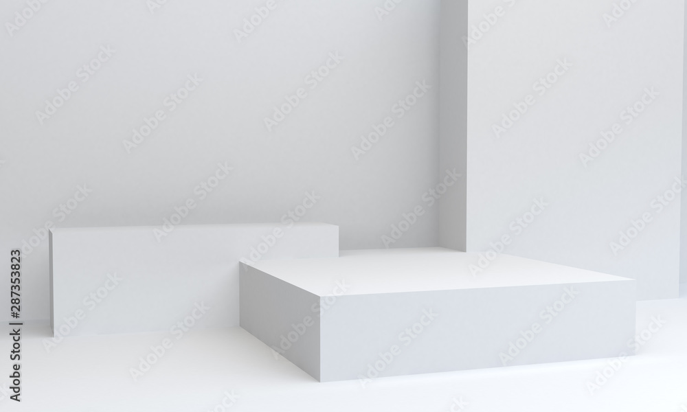 Fototapeta Geometric White shape scene minimal, 3d rendering.