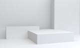 Geometric White shape scene minimal, 3d rendering.