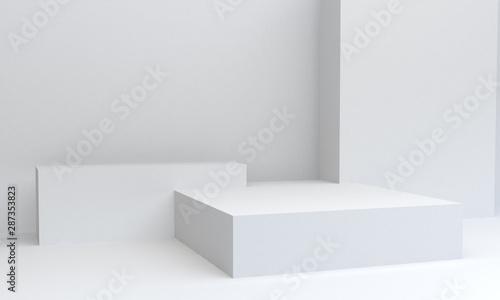 Fototapeta Geometric White shape scene minimal, 3d rendering. obraz