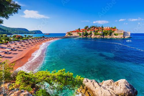 Garden Poster Mediterranean Europe Sveti Stefan, Montenegro.