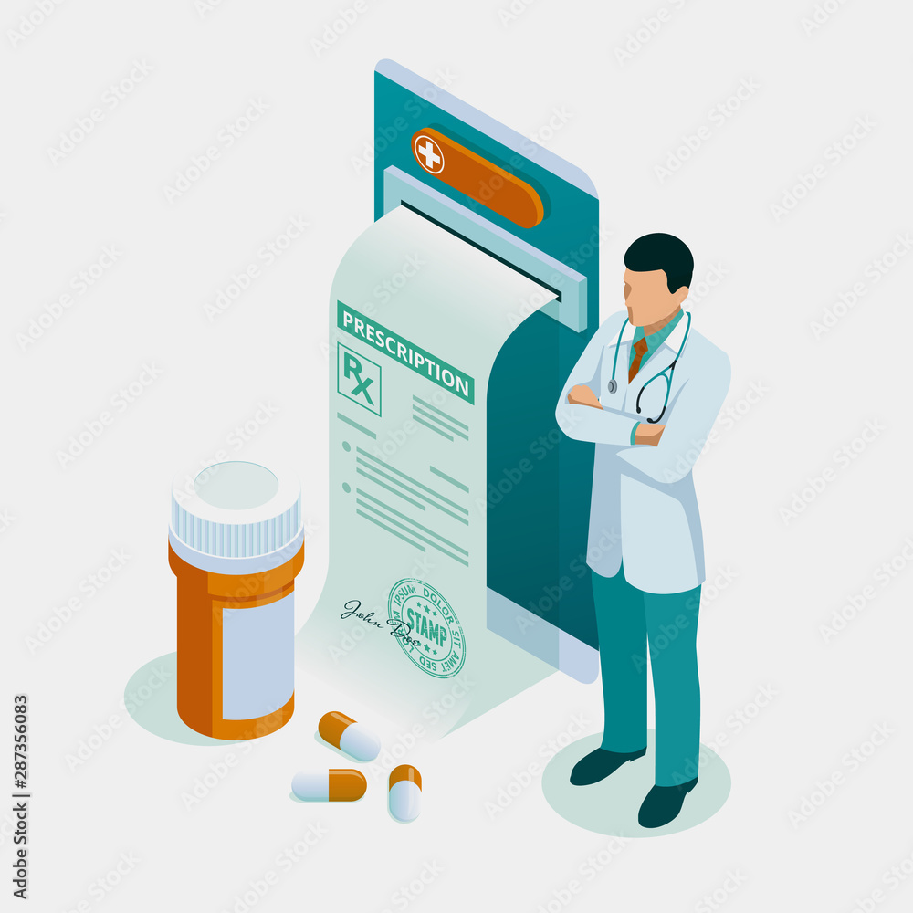 Fototapety, obrazy: Isometric online doctor consultation, healthcare, medical concept. Online treatment recipe.