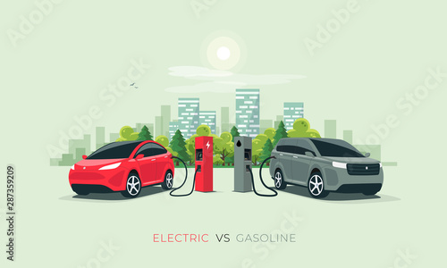 Fotografie, Tablou Comparing electric versus gasoline diesel car suv