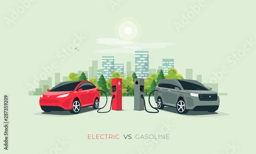 Valokuva Comparing electric versus gasoline diesel car suv