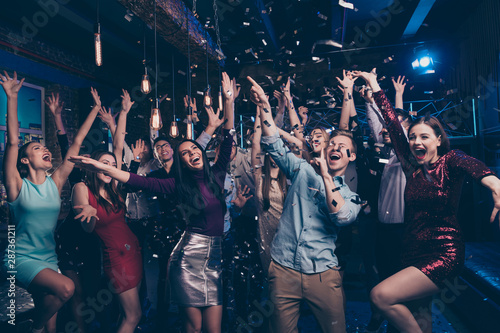 Foto auf Gartenposter Individuell Nice attractive lovely smart glamorous stylish fashionable cheerful glad ecstatic positive girls and guys having fun chill out bachelor graduate festive event tradition in luxury place nightclub