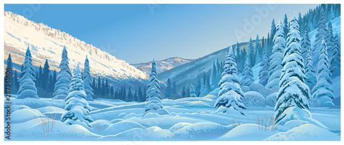 Fototapeta Winter mountain landscape with snowdrifts and snowy fir trees. obraz