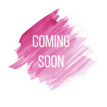 Coming Soon On Pink Watercolor Brush Strokes On White Background.