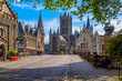 canvas print picture - Medieval city of Gent (Ghent) in Flanders with Saint Nicholas Church and Gent Town Hall, Belgium. Cityscape of Ghent.