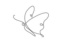 Butterfly One Continuous Line Drawing Element Isolated On White Background For Logo Or Decorative Element. One Line Art