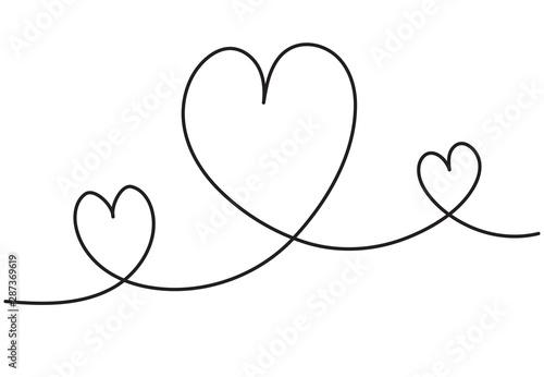 Fototapety, obrazy: Heart background valentine day design, one line draw vector illustration.