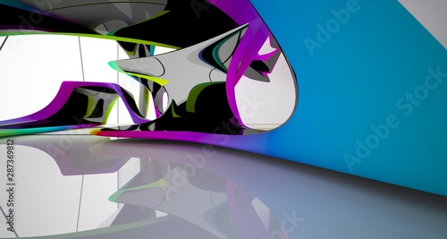 Abstract smooth white and colored gradient  interior multilevel public space with window. 3D illustration and rendering. © SERGEYMANSUROV