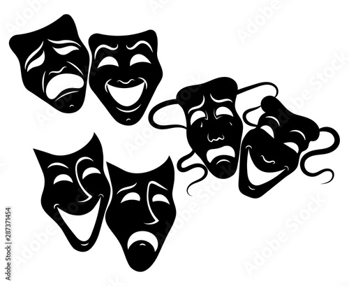 Tragedy and comedy theater masks set Tablou Canvas