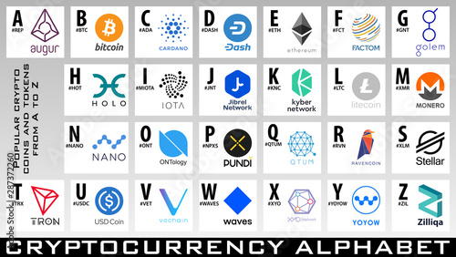 Photo Crypto coins and tokens logos from A to Z