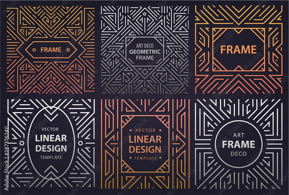 Vector set of art deco frames, adges, abstract geometric design templates for luxury products. Linear ornament compositions, vintage. Use for packaging, branding, decoration, etc.