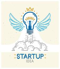 Idea Light Bulb With Wings Lau...
