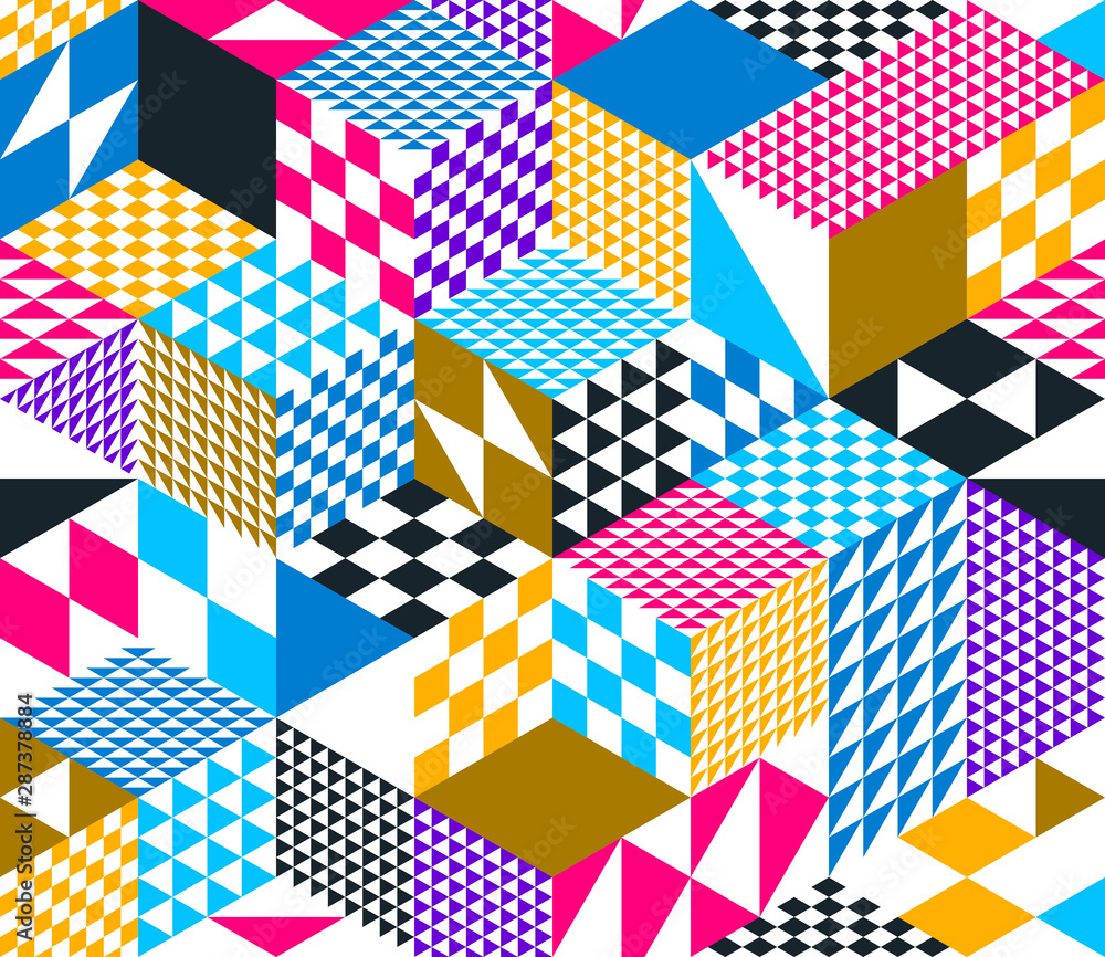 Fototapeta 3D cubes seamless pattern vector background, rhombus and triangles dimensional blocks, architecture and construction, geometric design.