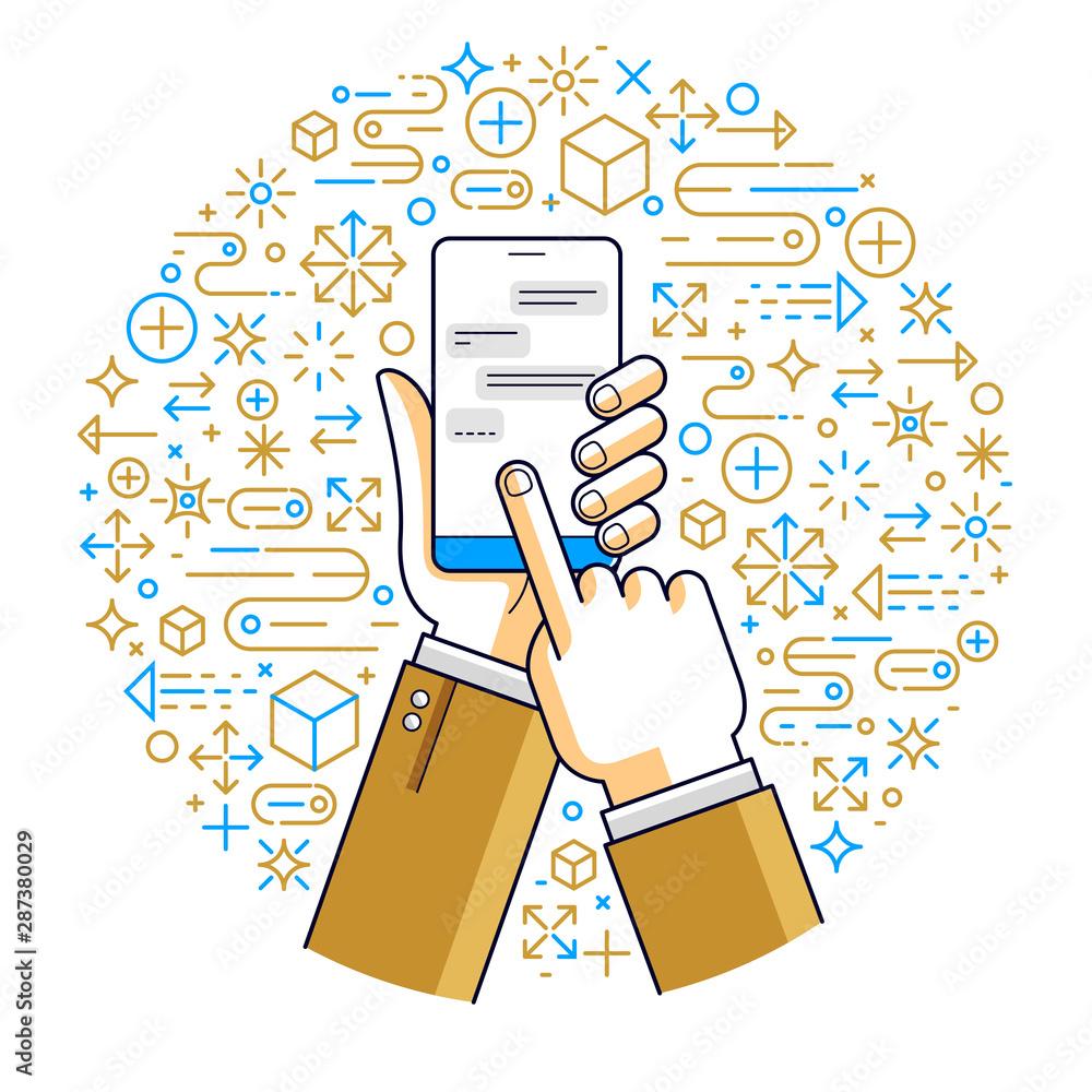 Fototapeta Internet communication and activity, man hands holding phones and using apps, global network, modern communication, messenger or social media concept, vector design.