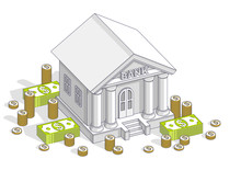 Old Cartoon Bank Building With Cash Money Dollar Pile And Cent Stack Cartoon Isolated Over White Background. 3d Vector Business And Finance Design, Isometric Thin Line Illustration.