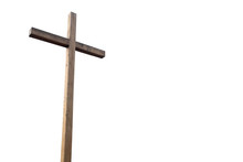 Wooden Cross Over White Background