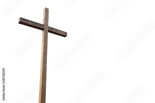 Fototapeta Wooden cross over white background