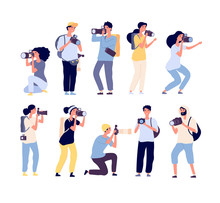 Cartoon Photographers. People Photograph With Camera. Amateur And Professional Photography Occupation. Isolated Vector Characters Set. Amateur Professional, Camera And Photographer Illustration