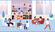 People in coffee shop. Friends drink coffee with pastry in coffeehouse. Persons meeting in cafe vector cartoon concept. Illustration coffee shop and coffeehouse, cafeteria with customers