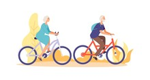Autumn Bike Ride Concept. Flat Elderly Characters Riding Bicycles Vector Illustration. Old People Woman And Man Cyclist Active