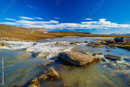 Rocky beach, Barentsoya, Svalbard, Norway