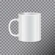 White tea mug. Side view. Realistic vector Mock up Template