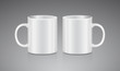White tea mug. Side view. Realistic vector Mock up Cup Template for your logo and design