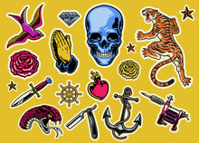 Set Of Colorful Tattoo Flash