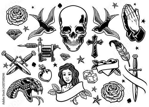 Obraz set of various tattoo flash - fototapety do salonu