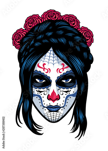 women wearing sugar skull make up фототапет