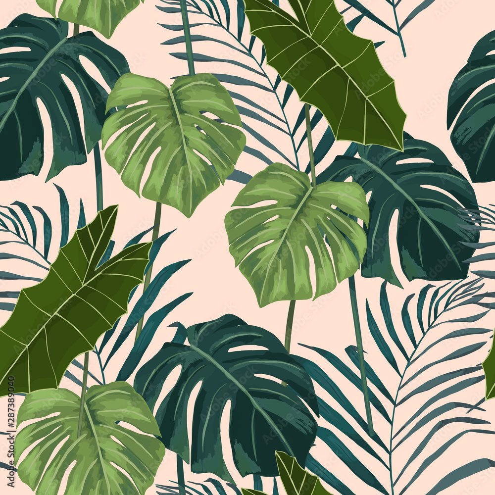 Fototapety, obrazy: Jungle exotic seamless pattern, green tropical leaves, summer vector illustration on white background. Watercolor style