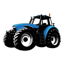 Blue Tractor. Farm Machine. Tractor On A White Background. Vector Stock Illustration.
