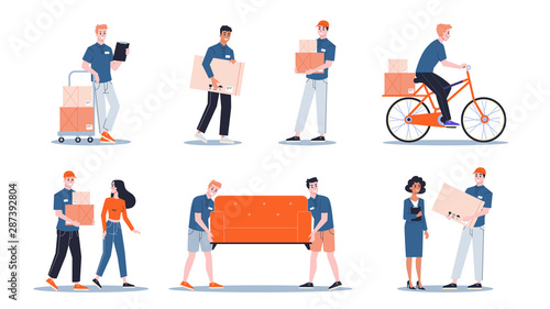 Foto auf Gartenposter Logo Loader in uniform carrying things set. Delivery man holding