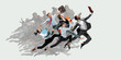 Happy office workers jumping and dancing in casual clothes or suit with folders on white. Ballet dancers. Business, start-up, working open-space, motion and action concept. Creative collage.