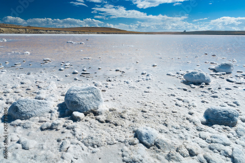 Salt lake in Tierra del Fuego in Argentina