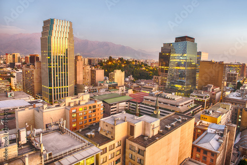 Evening panorama of Santiago de Chile