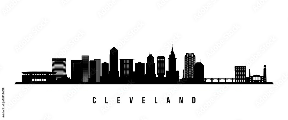 Fototapeta Cleveland City skyline horizontal banner. Black and white silhouette of Cleveland City, Ohio. Vector template for your design.