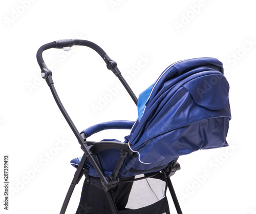 Blue pushchair isolated on white background Canvas Print