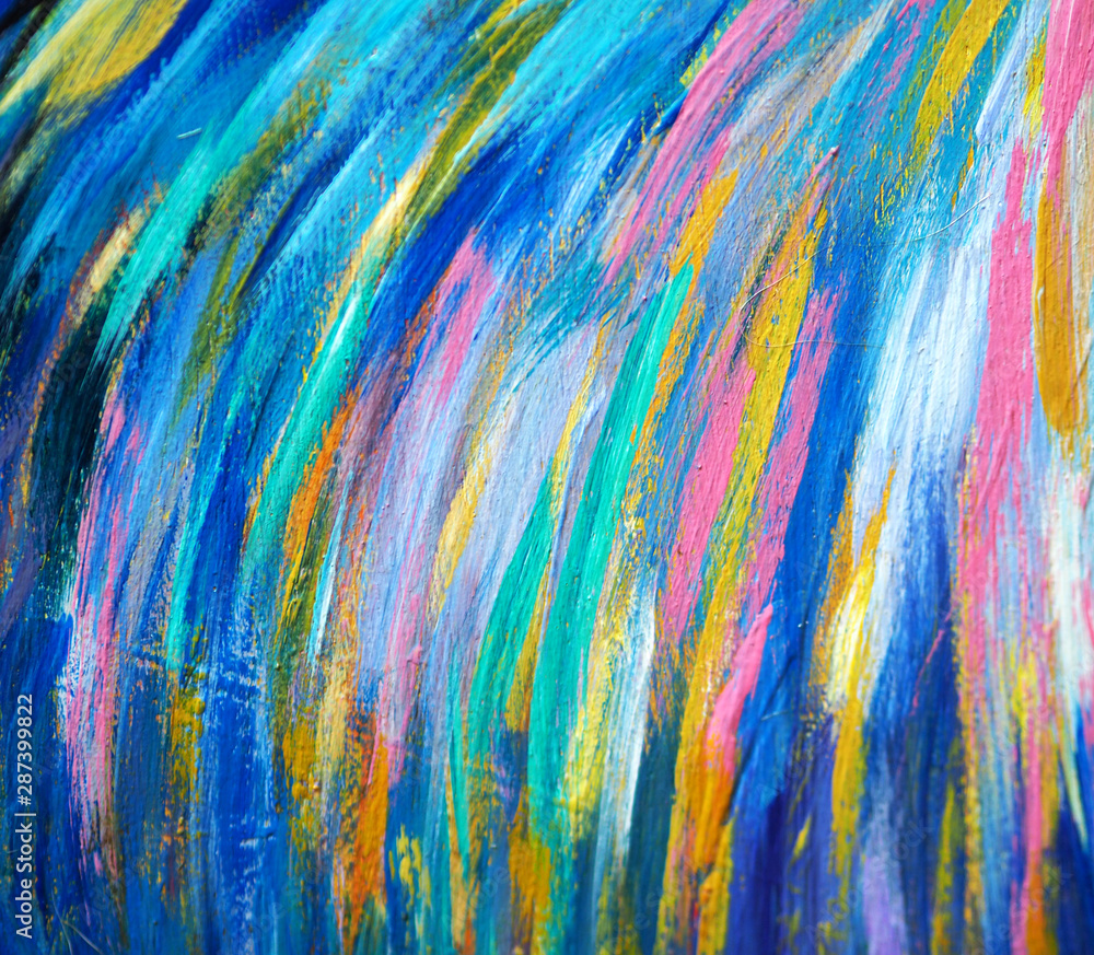 Fototapety, obrazy: Colorful multi color oil painting abstract background.