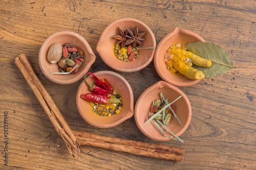 カラフルなスパイス Photo of colorful Indian food spices Canvas Print