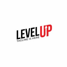 Modern Level Up Typography Logo Design Inspiration