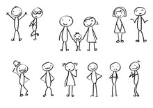 Vector Stick Figures As Isolated Elements For A Presentation Or Different Designs. Family Stick Men.