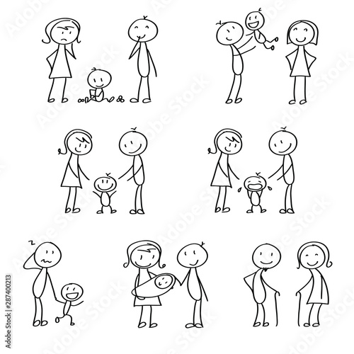 Stampa su Tela Set of stick figures showing small emotional situation inside the family, motherhood and joy with children