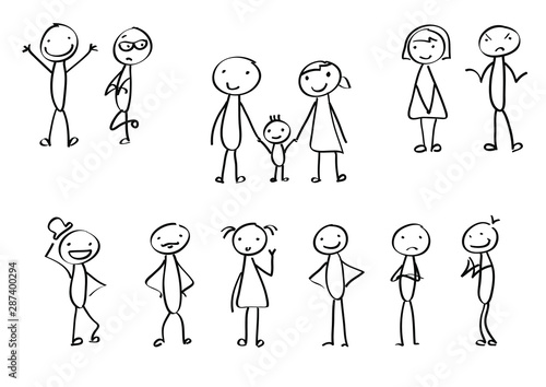 Fotografia Vector stick figures as isolated elements for a presentation or different designs