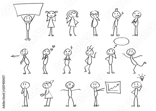 Funny children drawings - set of stick figures in different poses Tablou Canvas